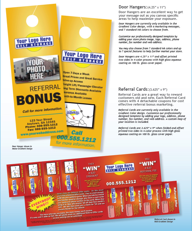 Print products for self storage for 10000 door hangers